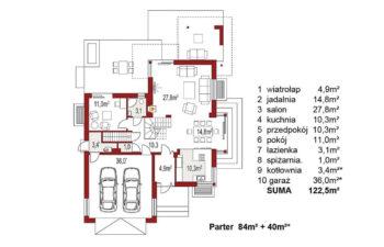 Projekt domu jednorodzinnego Carmen Magdalena A z piwnicą rzut parteru