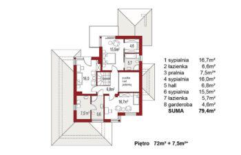 Projekt domu jednorodzinnego Carmen Magdalena A z piwnicą rzut poddasze