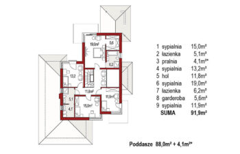 Projekt domu Carmen Magdalena LUX rzut piętro