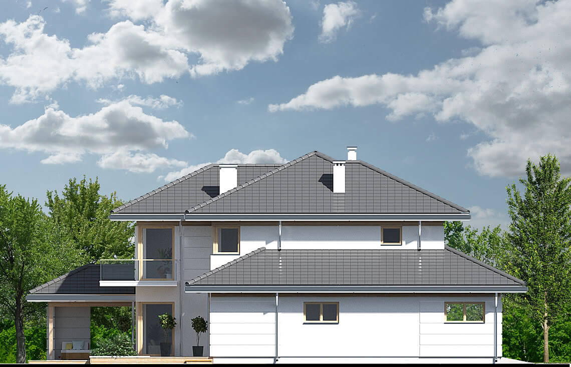 Projekt domu jednorodzinnego Carmen Magdalena Optima A elewacja lewa