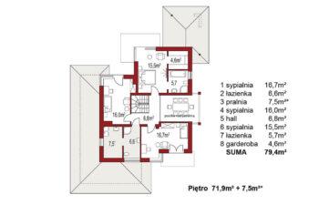 Projekt domu jednorodzinnego Carmen Magdalena Optima A rzut piętra