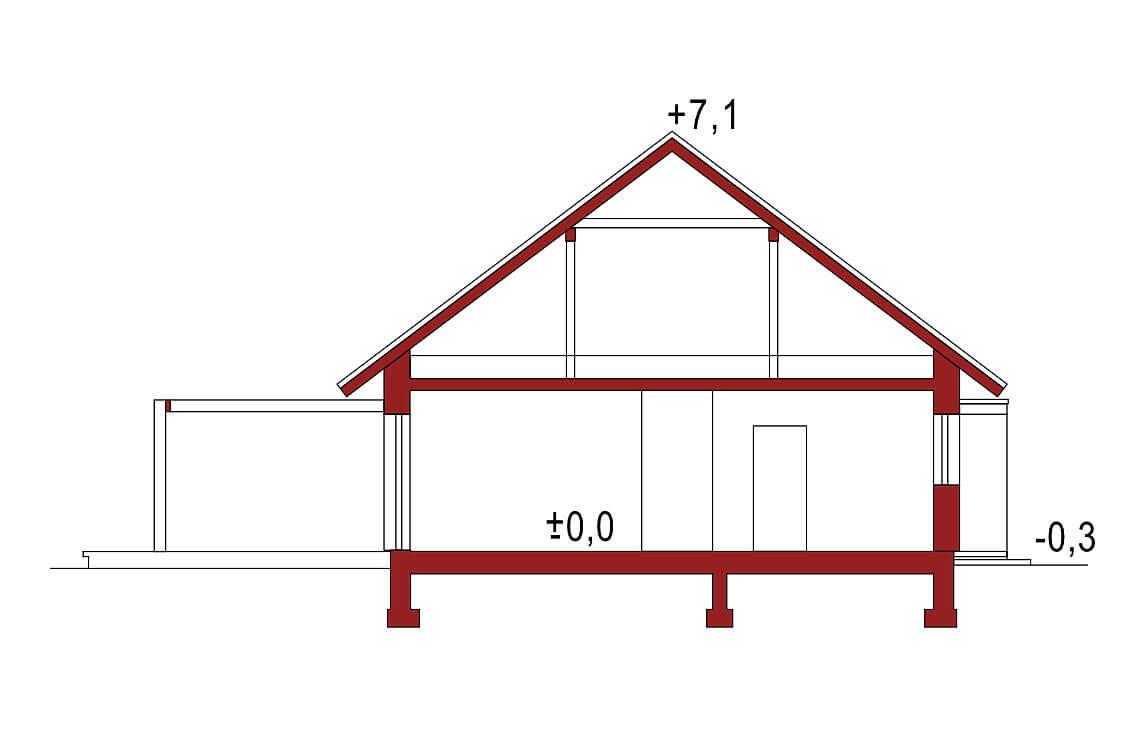 Projekt domu Diament A przekrój