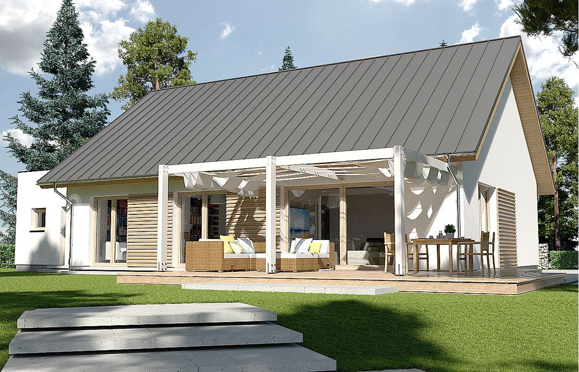 Projekt domu jednorodzinnego Diament A widok ogród