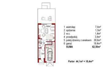 Projekt domu szeregowego, bliźniaczego Diana 2 segment środkowy rzut parteru