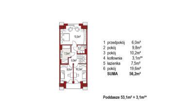 Projekt domu szeregowego, bliźniaczego Diana 2 segment środkowy rzut poddasza