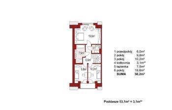 Projekt domu szeregowego, bliźniaczego Diana 2 segment lewy rzut poddasza