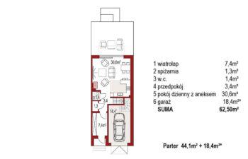 Projekt domu szeregowego, bliźniaczego Diana 2 segment prawy rzut parteru