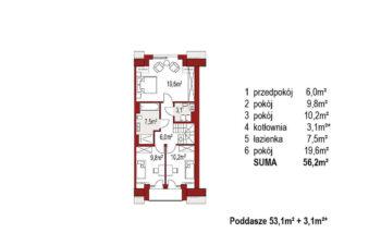 Projekt domu szeregowego, bliźniaczego Diana 2 segment prawy rzut poddasza