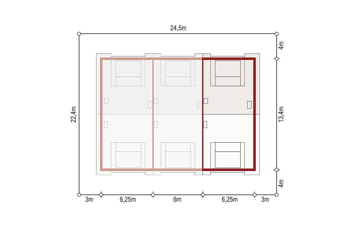 Projekt domu szeregowego, bliźniaczego Diana 2 segment prawy sytuacja