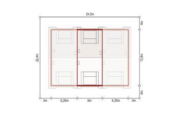 Projekt domu szeregowego, bliźniaczego Diana 2 segment środkowy sytuacja