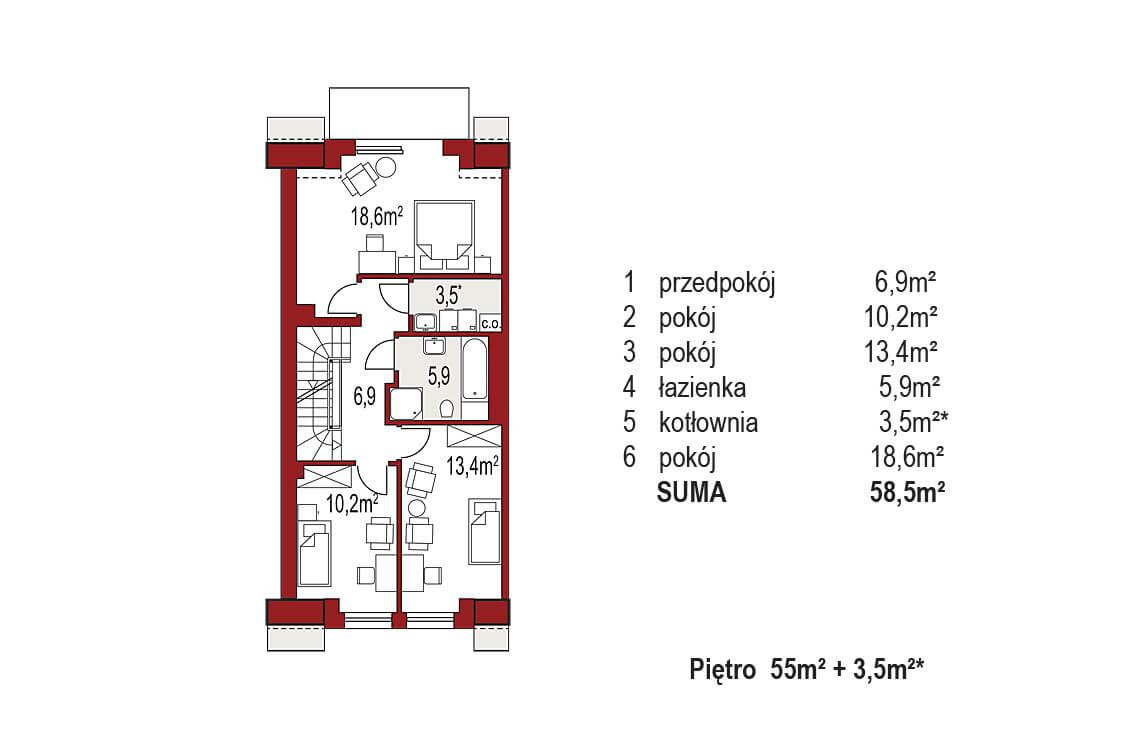 Projekt domu szeregowego-bliźniaczego Diana A segment lewy rzut pietro