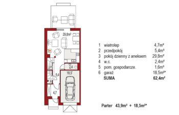 Projekt domu szeregowego-bliźniaczego Diana A segment lewy rzut parter