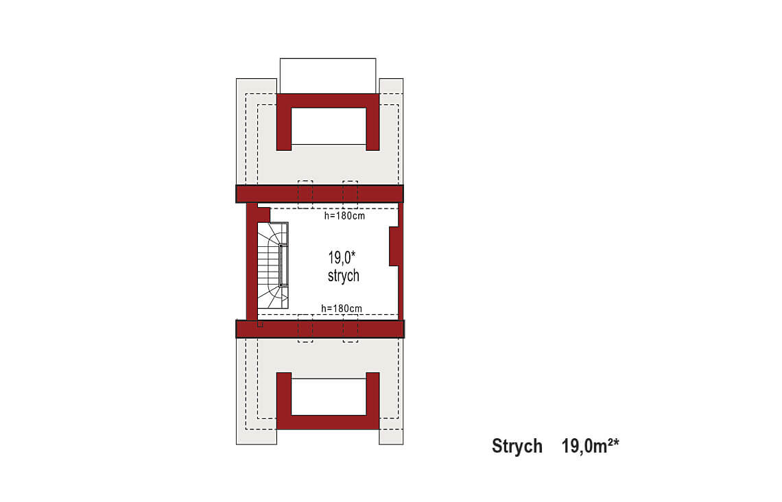 Projekt domu szeregowego-bliźniaczego Diana A segment lewy rzut strychu