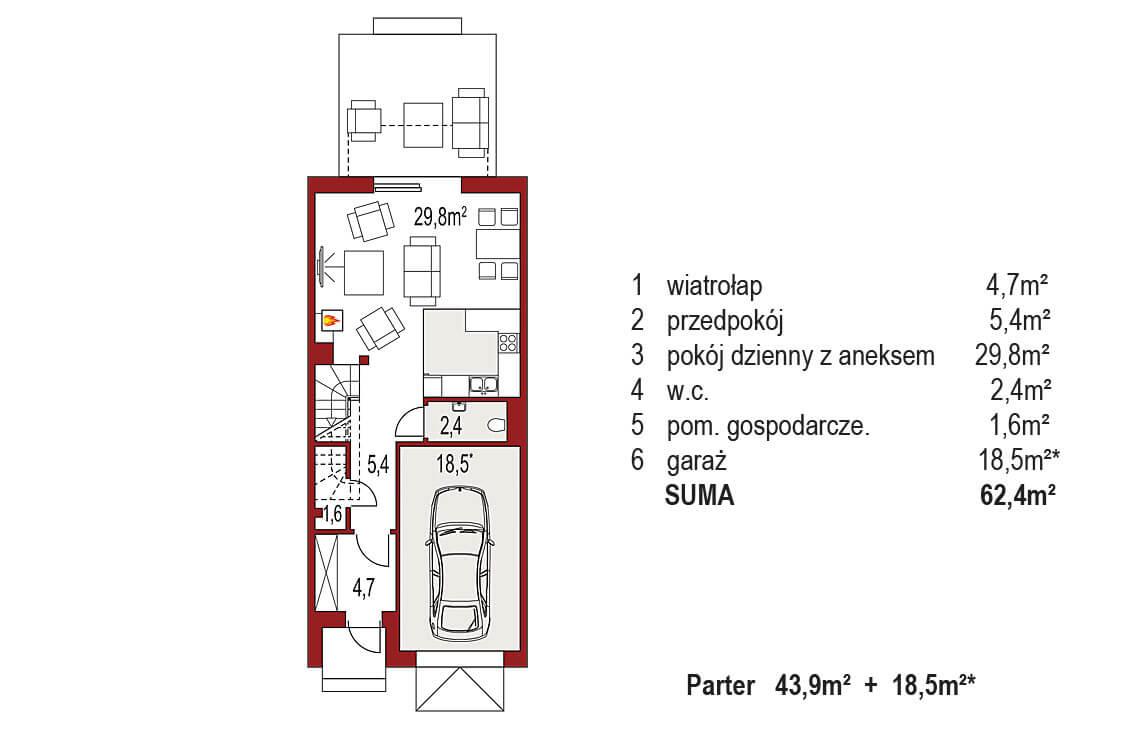 Projekt domu szeregowego-bliźniaczego Diana A segment środkowy rzut parteru