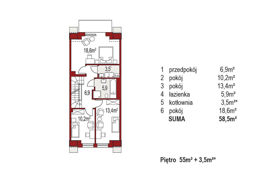 Projekt domu szeregowego-bliźniaczego Diana A segment środkowy rzut poddasza