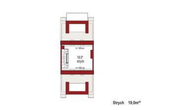 Projekt domu szeregowego-bliźniaczego Diana A segment środkowy rzut strychu
