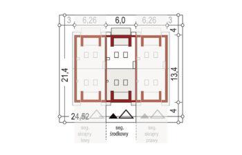 Projekt domu szeregowego-bliźniaczego Diana A segment środkowy sytuacja