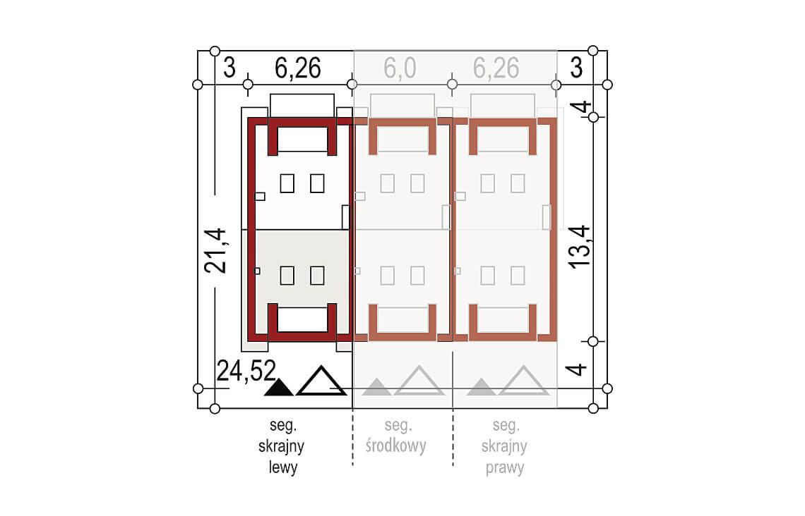 Projekt domu szeregowego-bliźniaczego Diana A segment lewy sytuacja