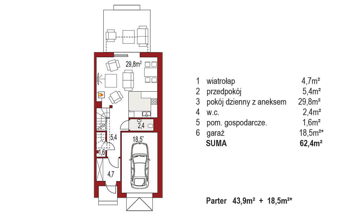 Projekt domu szeregowego-bliźniaczego Diana A segment prawy rzut parter
