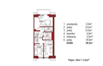Projekt domu szeregowego-bliźniaczego Diana A segment prawy rzut poddasza