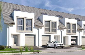 Projekt domu szeregowego-bliźniaczego Diana A widok front 1.2.