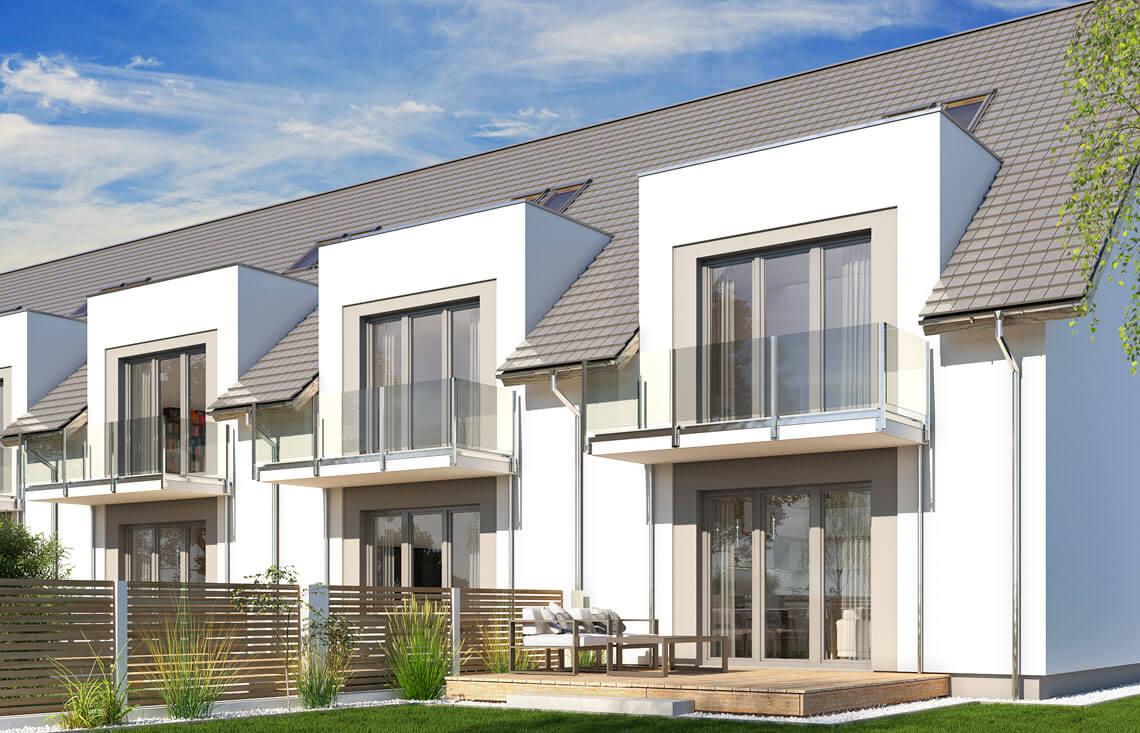 Projekt domu szeregowego-bliźniaczego Diana A widok ogród 1.1.