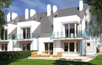 Projekt domu szeregowego-bliźniaczego Diana A widok ogród bok1