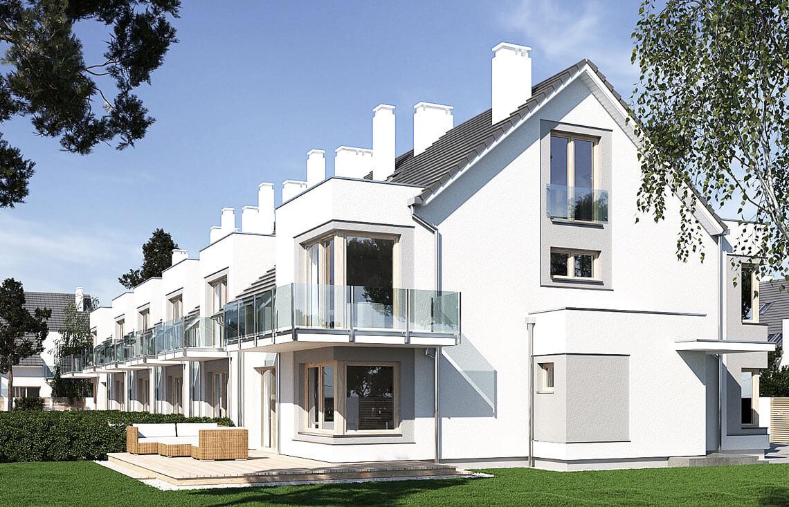 Projekt domu szeregowego-bliźniaczego Diana A widok ogród bok2