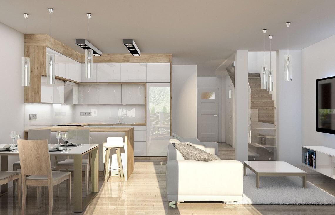 Projekt domu szeregowego-bliźniaczego Diana A wnętrze parter