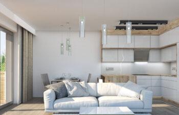 Projekt domu szeregowego-bliźniaczego Diana A wnętrze salon