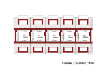 Projekt domu szeregowego-bliźniaczego Diana B zestaw 5 segmentów rzut poddasza