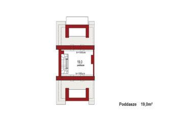 Projekt domu szeregowego-bliźniaczego Diana B segment lewy rzut poddasza