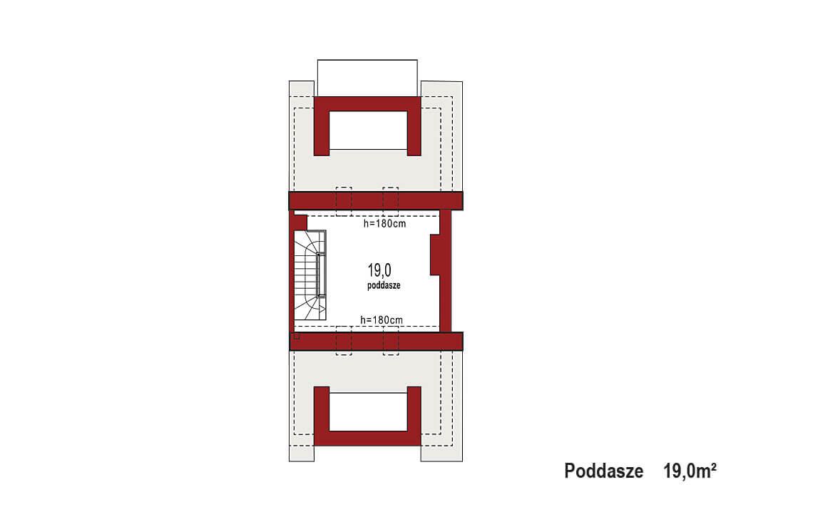 Projekt domu szeregowego-bliźniaczego Diana B segment rzut PODDASZA