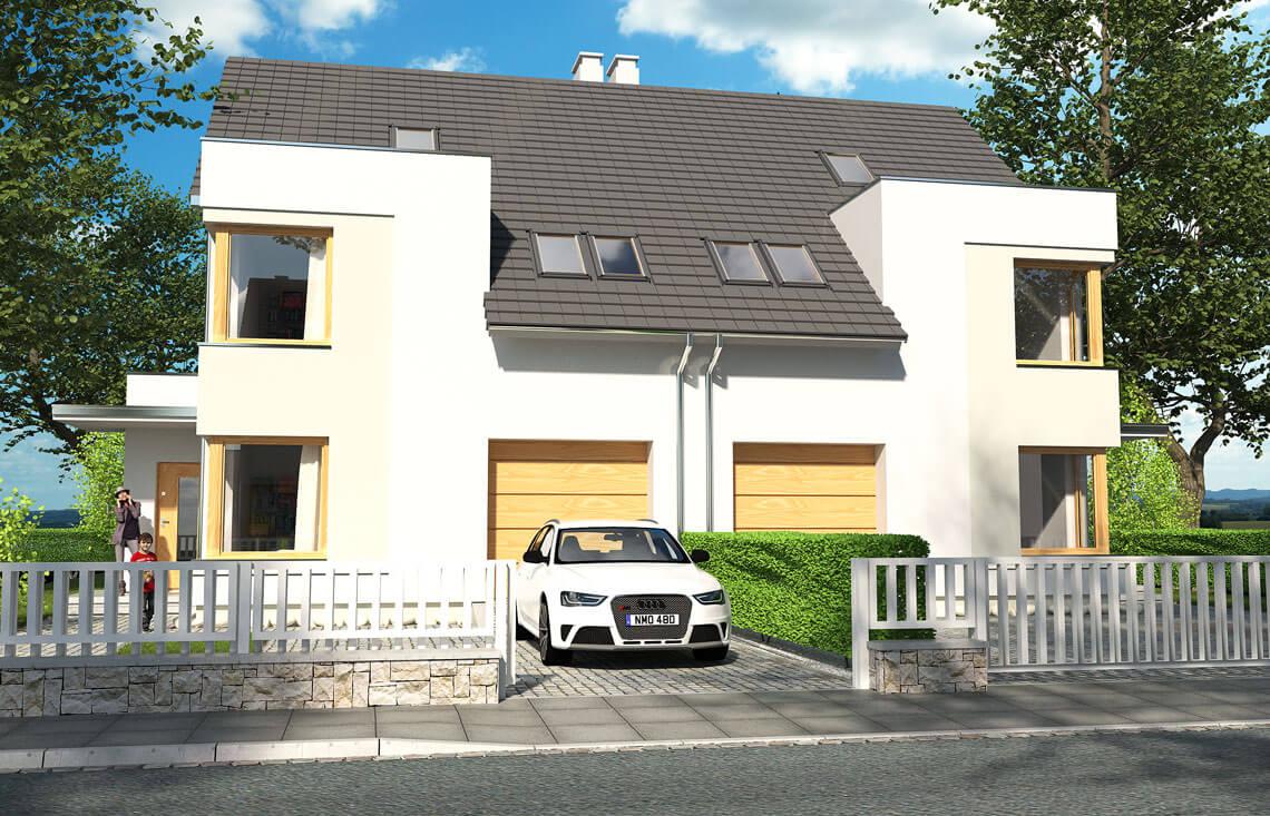 Projekt domu bliźniaczego Diana Grande A,B bliźniak widok front 2