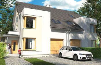 Projekt domu bliźniaczego Diana Grande A,B widok front