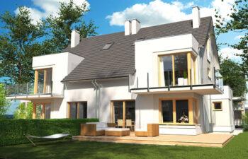 Projekt domu szeregowego-bliźniaczego Diana Grande A,B bliźniak widok ogród