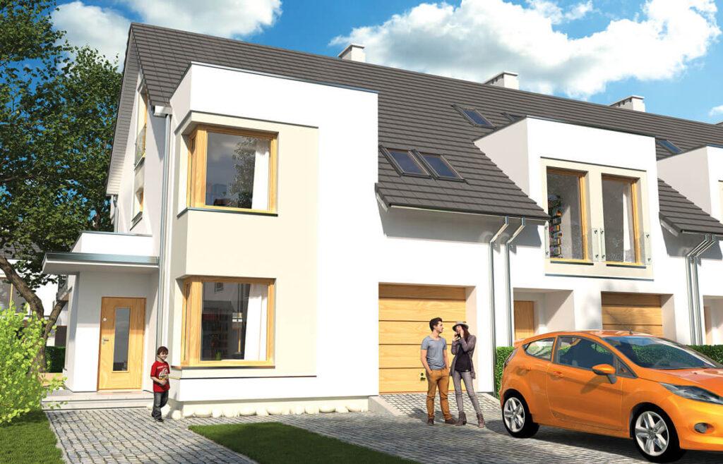 Projekt domu szeregowego-bliźniaczego Diana Grande A,B widok front 1