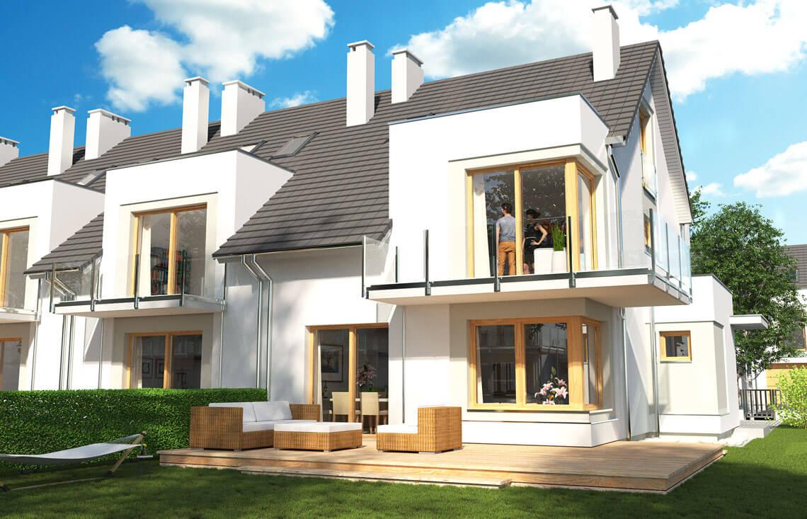Projekt domu szeregowego-bliźniaczego Diana Grande A,B szereg lewy ogród