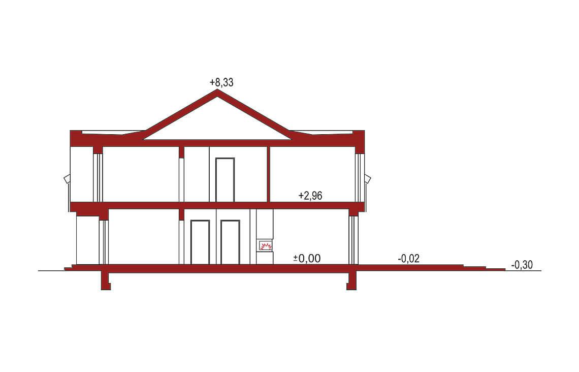 Projekt domu szeregowego, bliźniaczego Diana 2 - przekrój
