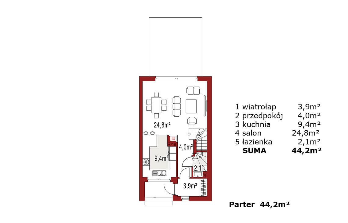 Projekt domu szeregowego-bliźniaczego Elena A segment prawy rzut parteru