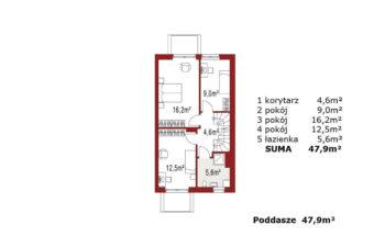 Projekt domu szeregowego-bliźniaczego Elena A segment prawy rzut piętra