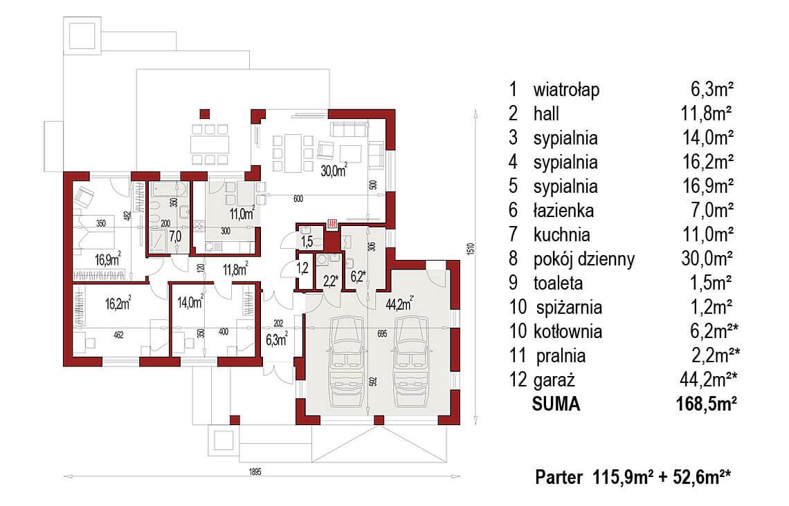 Projekt domu Evita Optima A rzut parteru