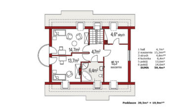 Projekt domu Ewa A 100 rzut poddasze