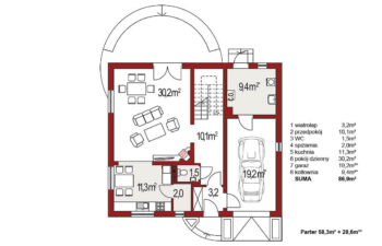 Projekt domu Ewa A rzut parter