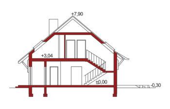 Projekt domu Ewa A przekrój