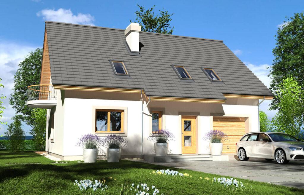Projekt domu jednorodzinnego Ewa Gold 1A widok front