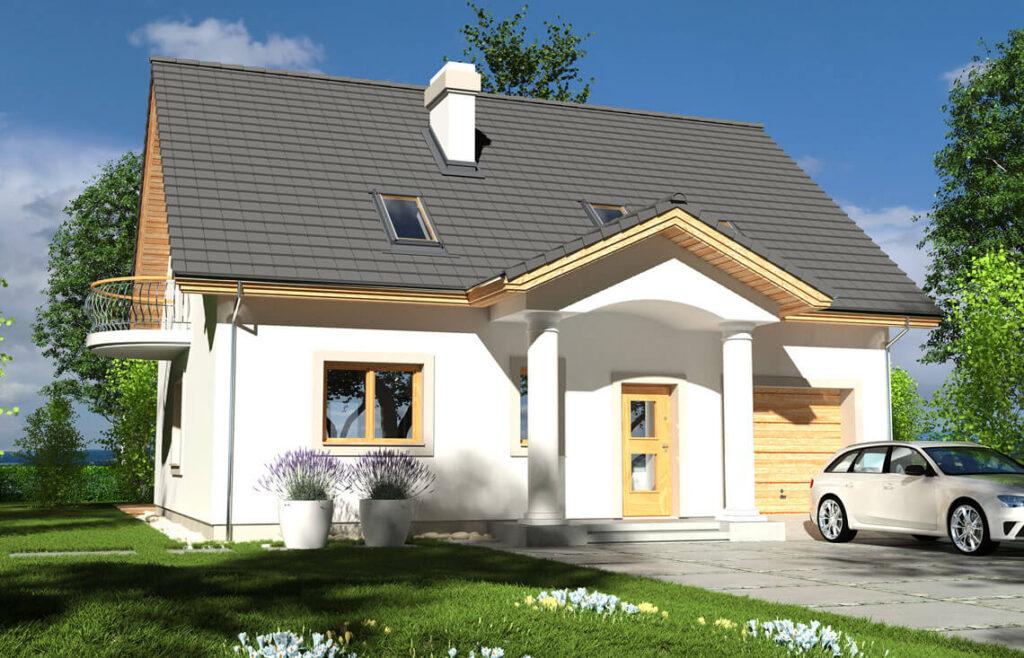Projekt domu jednorodzinnego Ewa Gold 2A elewacja ogród