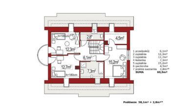 Projekt domu Ewa LUX rzut poddasza