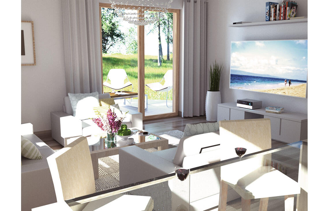 Projekt domu Ewa A wnętrze salon