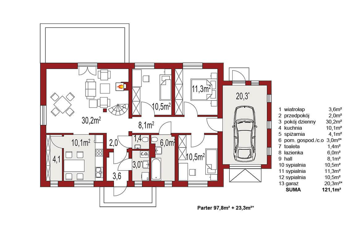 Projekt domu jednorodzinnego Gienia B,D rzut parteru